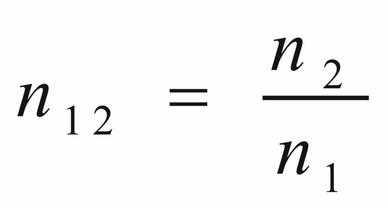 Indeks bias relatif medium 2 terhadap medium 1