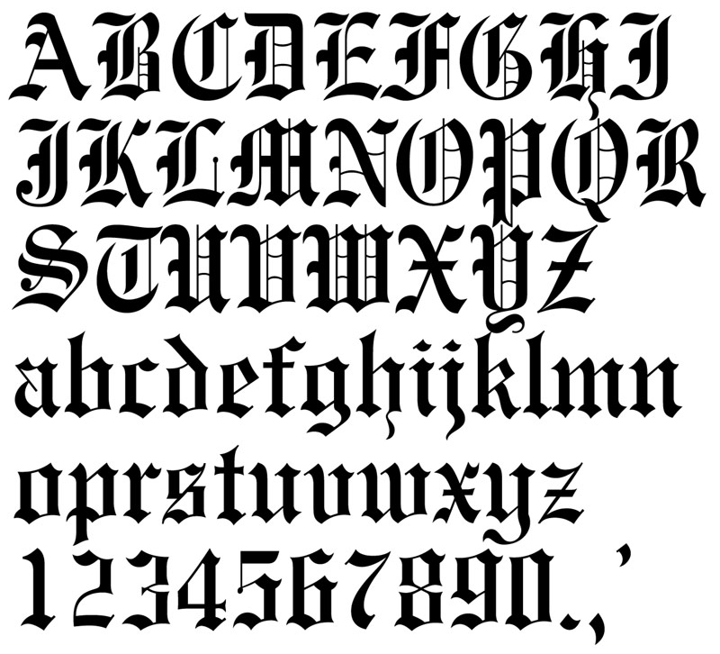 "Old English lettering ""Lettering tattoo designs""."