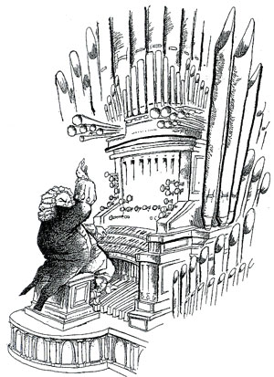 caricature of Johan Sebastian Bach playing the organ