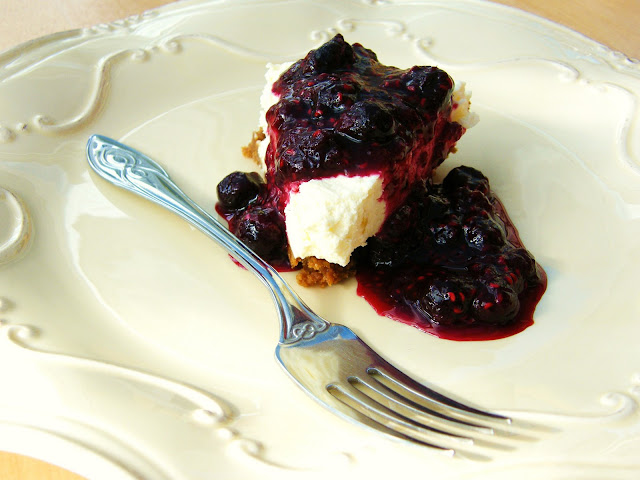 Tinned Tomatoes: Lemon Cheesecake with a Blueberry & Raspberry Topping