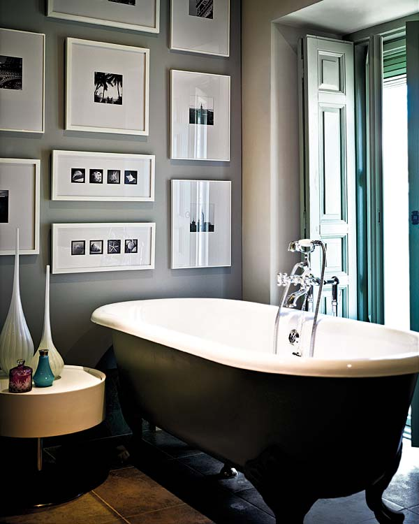 Tinas De Baño Negras:Black and White Bathroom Wall Art
