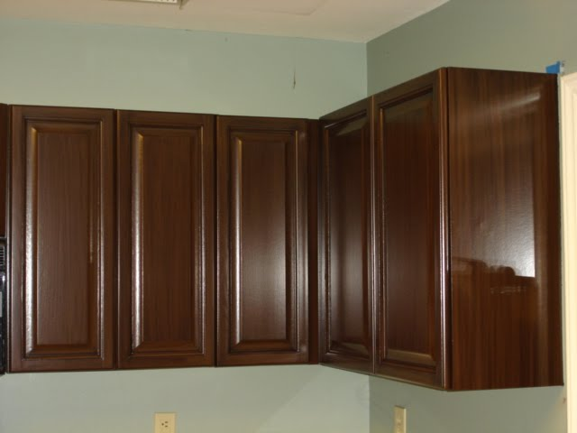 Oak cabinets painted brown with glaze (grain effect) | Refinishing