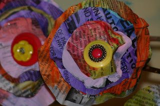 earth day!!! newspaper flowers and more…