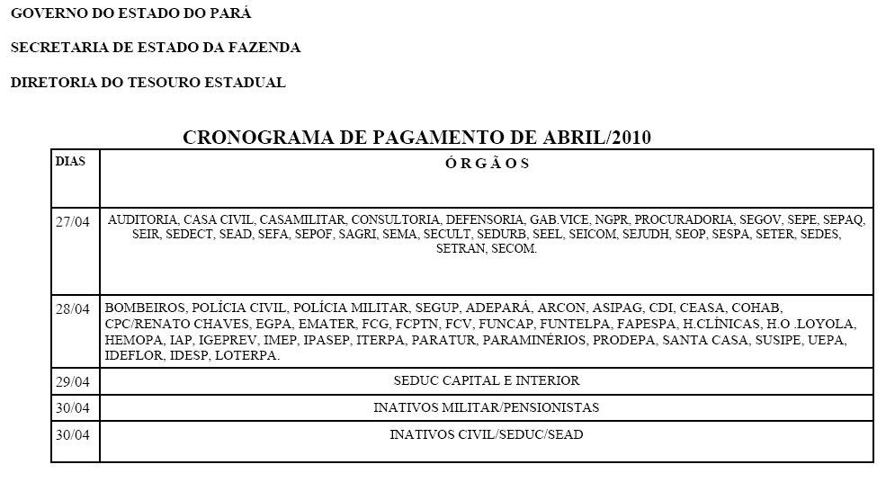 De+Pagamento+Estadual EAD SSP-PA SENASP-MJ: CALENDÁRIO DE PAGAMENTO ...
