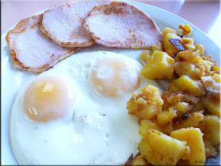 sunny side up with pea meal bacon