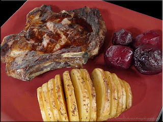 rib steak with accordion potatoes