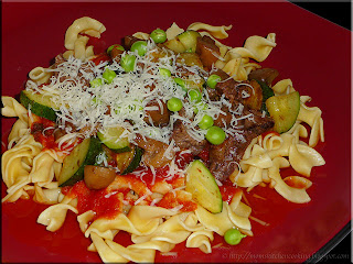 pasta supreme with steak vegetables