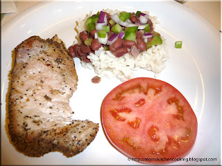 garlic pepper pork chops with red beans and rice