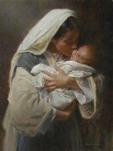 Imagen de María besando al niño Jesús en sus brazos. Obra titulada 'Besando la cara de Dios', de Morgan Weistling