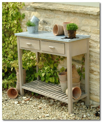 garden trading zinc top pottiong bench