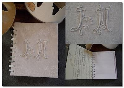 french monogrammed linen notebooks