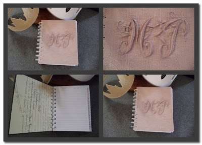 french monogrammed linen notebooks