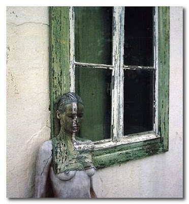 painted window with painted model