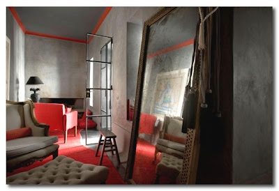 a grey and red loft