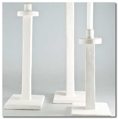 whte plster candle holders jacqueline morabito