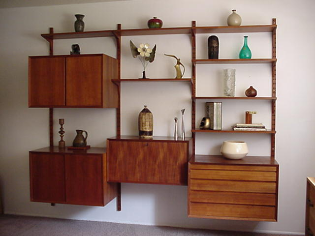 Danish Furniture Vintage Wardrobe Design Books Wall Shelves Mid Century Furniture Wall