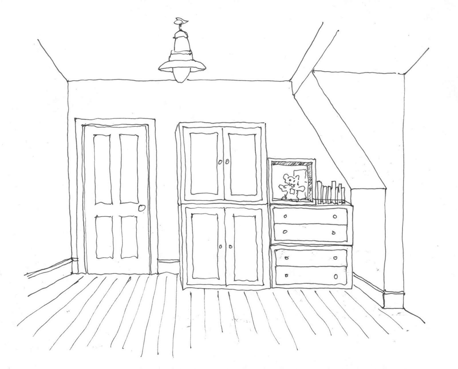 how to draw a bedroom in one point perspective