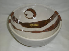 Rust and White Serving Bowl