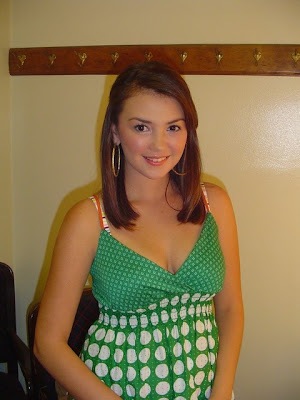 Angelica Panganiban in Sweet Green Polka Dot Tank Dress Fashion Style (celebrity moment photoshoot)