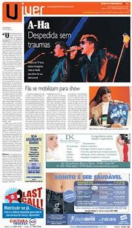 A-ha no Diário de Pernambuco Capa100228