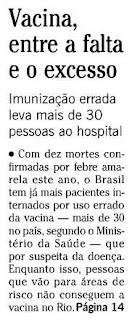 Chamada de O Globo sobre febre amarela