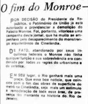 Reprodução de box de O Globo elogiando derrubada do palácio Monroe