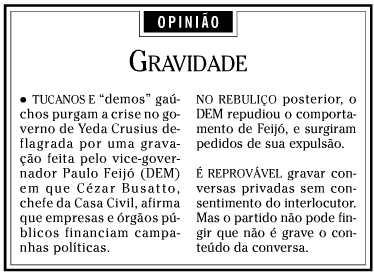 [Imagem] Reprodução de editorial de O Globo que afirma que DEM é demo