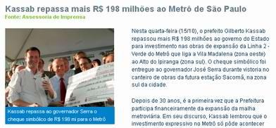 Foto de Serra, Kassab e cheque do metrô, retirada do site do candidato
