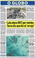 Reprodução primeira página O Globo Tarso Genro