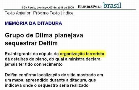 Reprodução de página da Folha que chama Dilma de líder terrorista