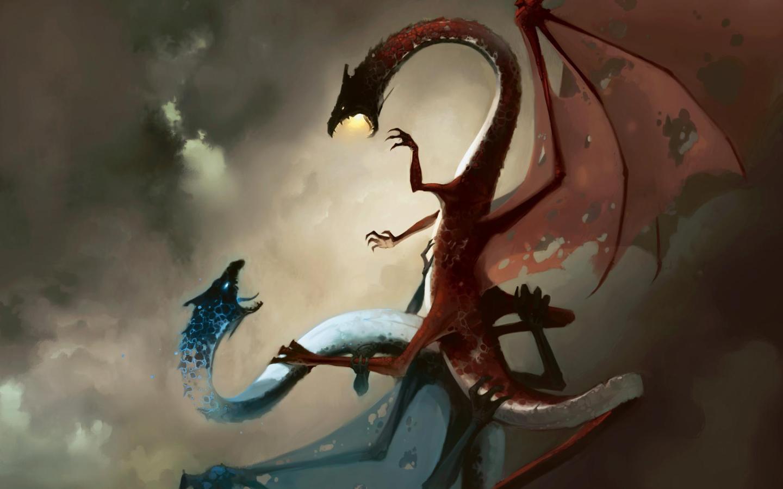 Cool Desktop Sfondo Draghi Che Lottano Rosso Vs Blu Dragons