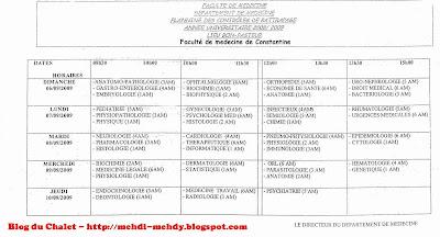 Programme rattrapage septembre 2009 - Faculté de médecine de Constantine