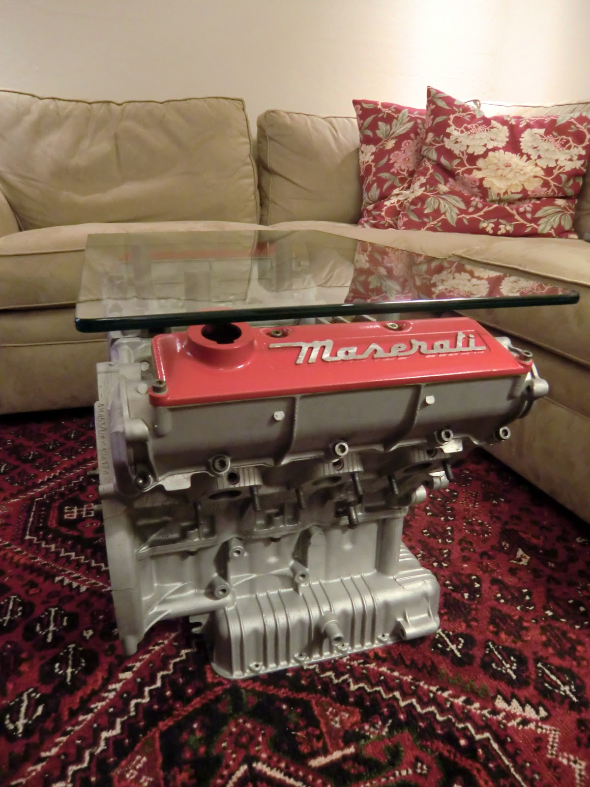 Engine Block Coffee Table Complete! I Picked Up The Glass I Had Specially  Cut Today. I Ended Up Propping The Glass By Chopping Up A Wooden Dowel, ...