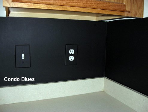 condo blues chalkboard paint kitchen backsplash