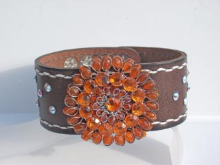 2 in leather band and crystals