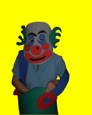 Eloise O'Hare disguised as clown