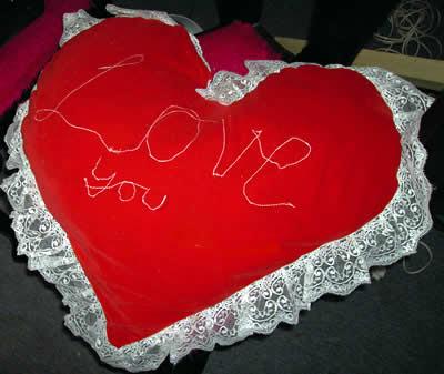 Love heart cushion by Eloise O'Hare