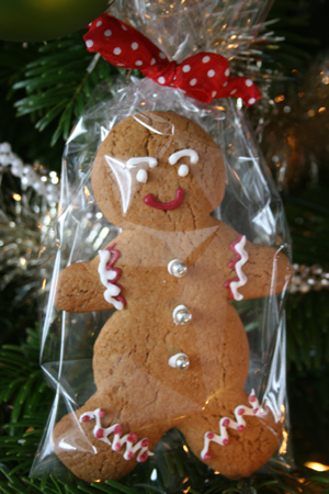 Gingerbread man koekje ingepakt