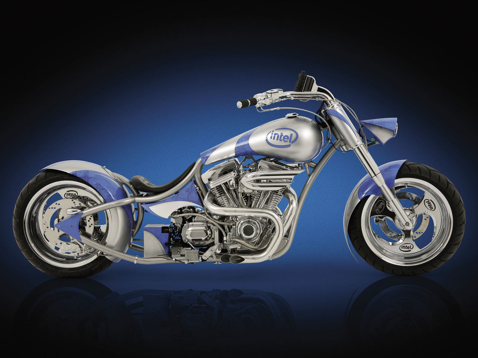 wallpaper-best-size: Intel Blue Sider Chopper Motorcycle