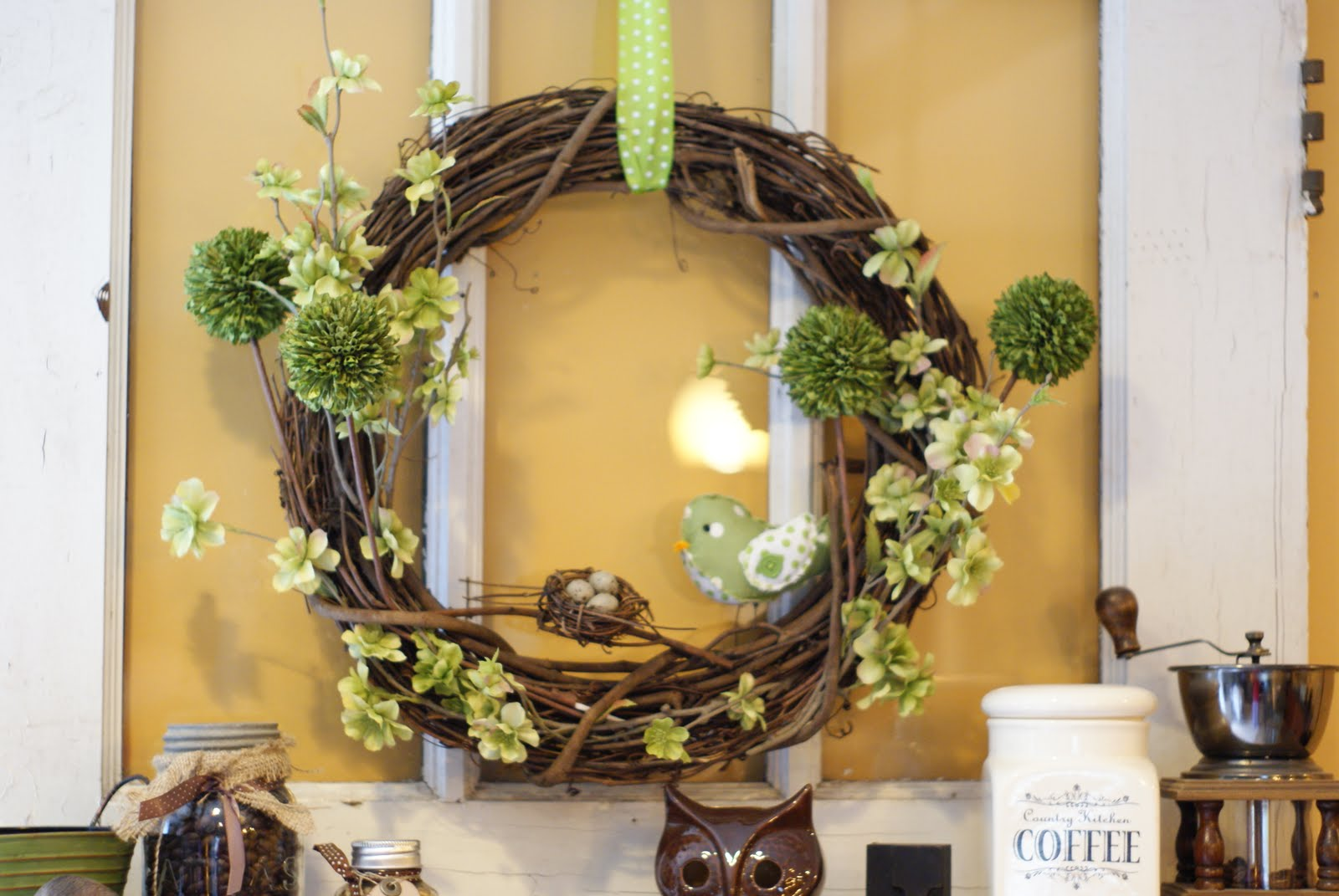 The little green bean spring door decor - Window decorations for spring ...
