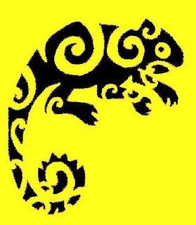 chameleon tattoo art design