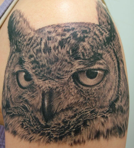 realistic owl tattoo design