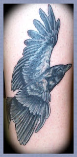 crow in flight tattoo
