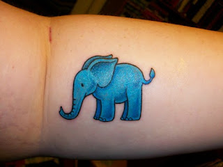 Big Blue Elephant tattoo for female