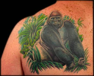 gorilla tattoo on back body