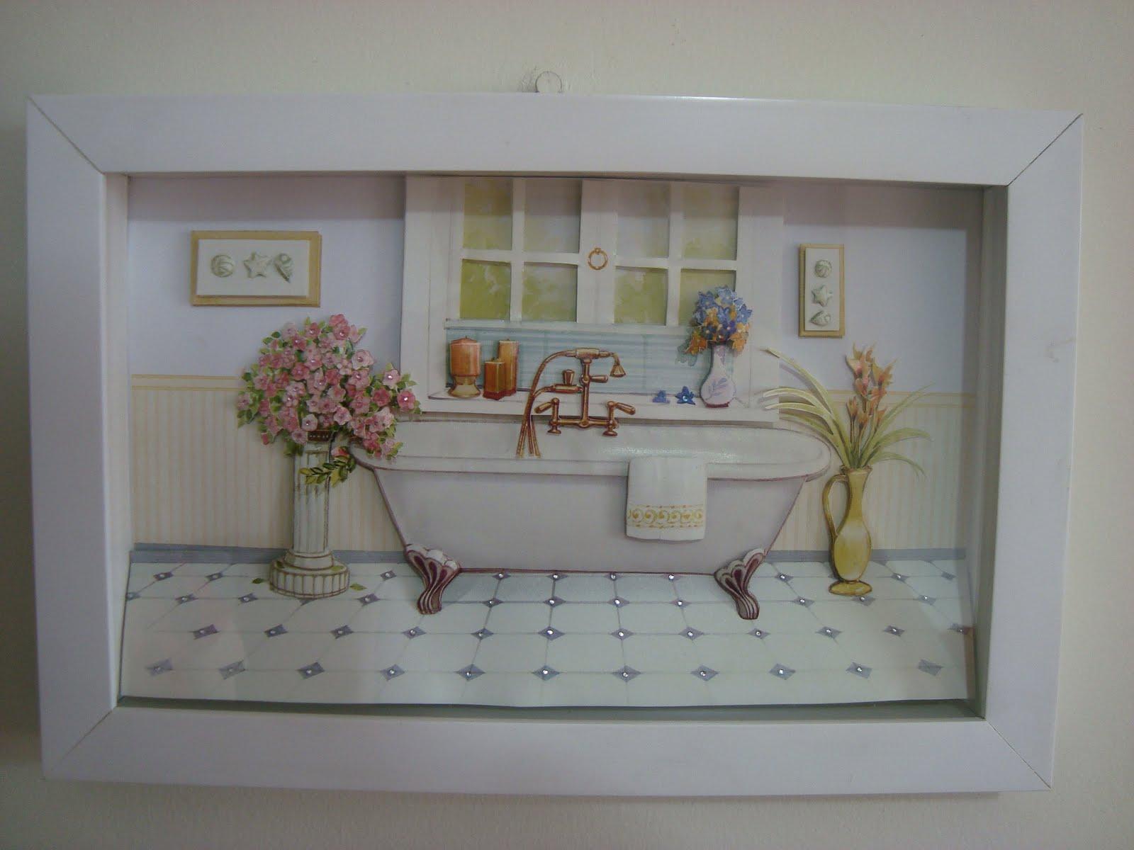 #634B3D PATYWORK: Quadro para Lavabo ou Banheiro em Arte Francesa 1418 Quanto Custa Uma Janela De Aluminio Para Quarto