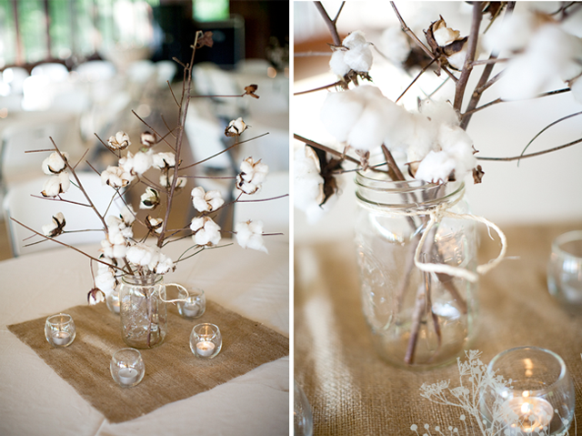 Cotton stalks as centerpieces