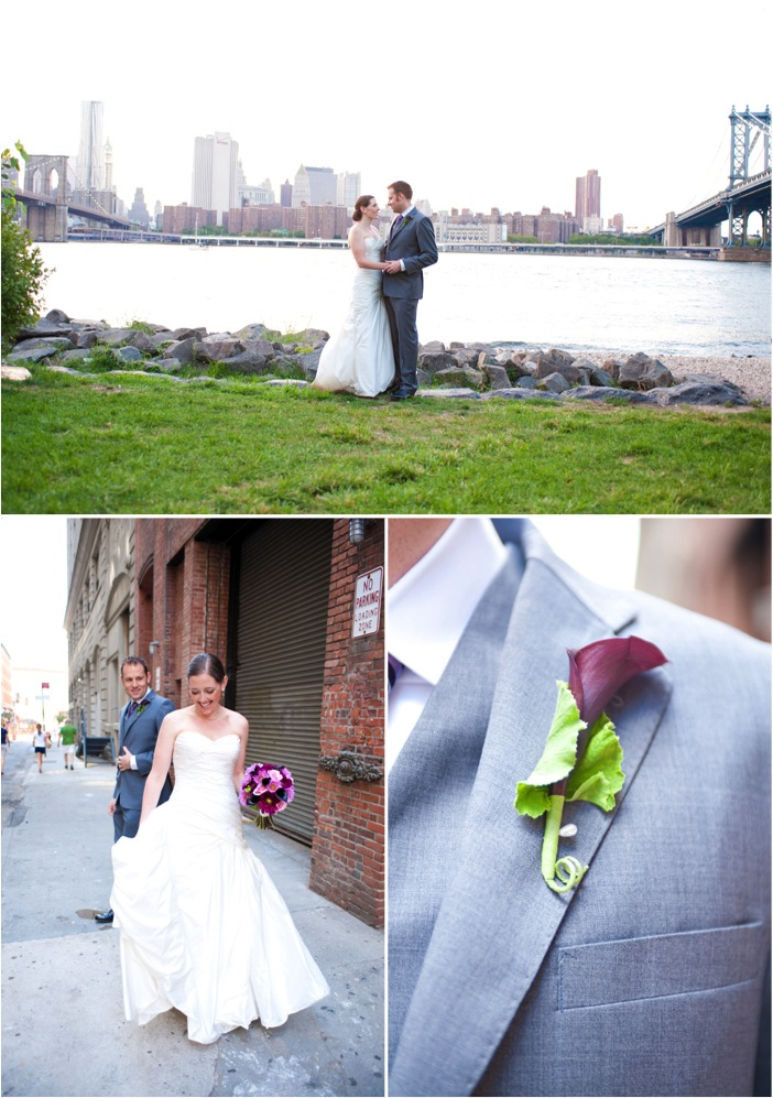 The simple yet ohsochic ceremony took place on a pebble beach in Brooklyn