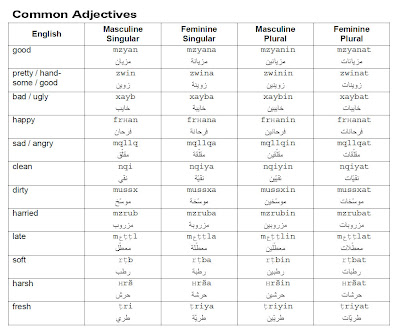 Learn moroccan arabic language common adjectives