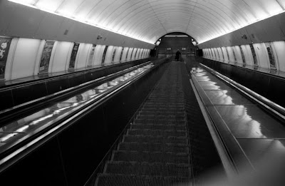 Prague - Escalators at Narodni trida station